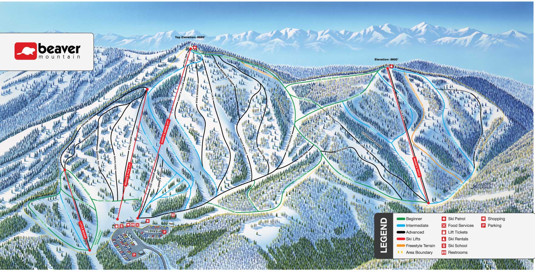 Beaver Mountain Piste / Trail Map