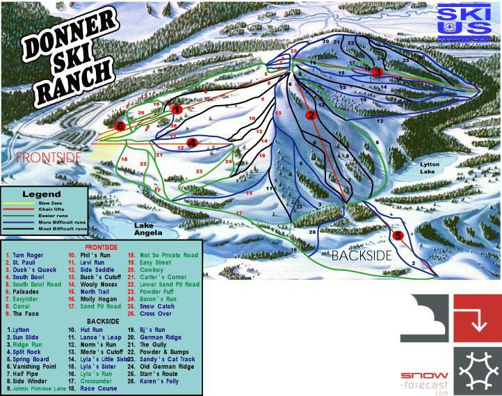 Donner Ski Ranch Piste / Trail Map