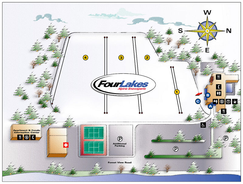 Four Lakes Piste / Trail Map