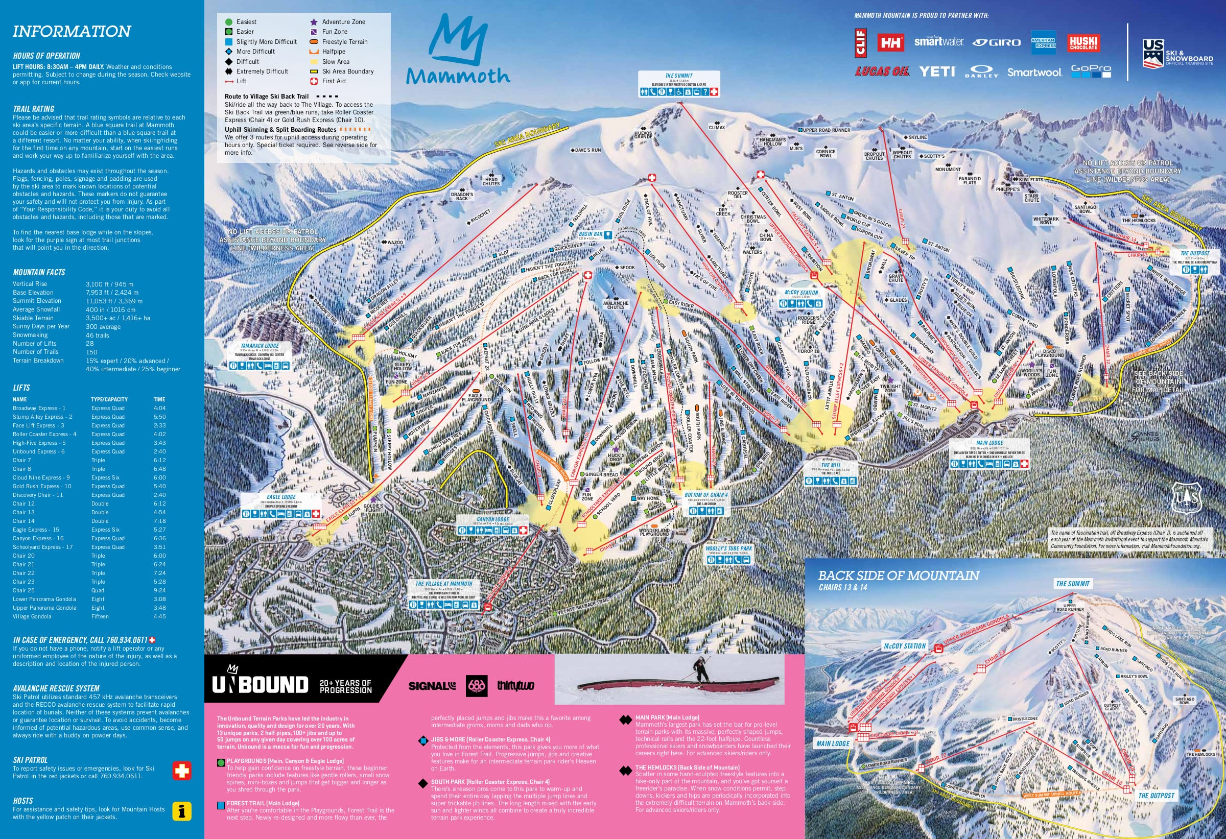 Mammoth Mountain Piste / Trail Map