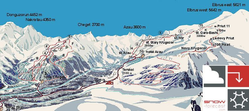 Mount Elbrus Piste / Trail Map