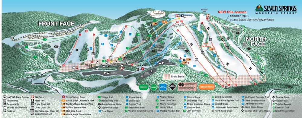 Seven Springs Mt Piste / Trail Map