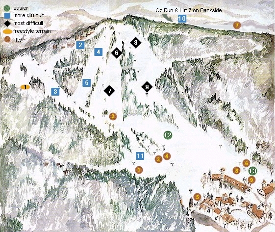 Ski Beech Mountain Resort Piste / Trail Map