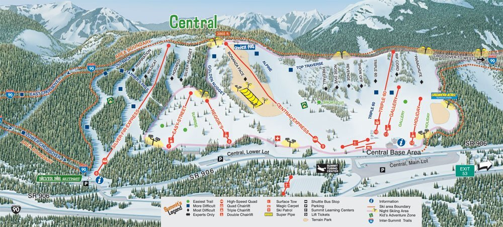 Summit at Snoqualmie Piste / Trail Map