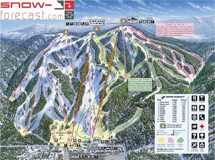 Snow Summit Piste / Trail Map