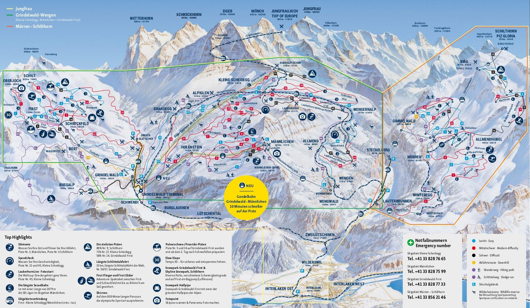 Wengen Piste / Trail Map