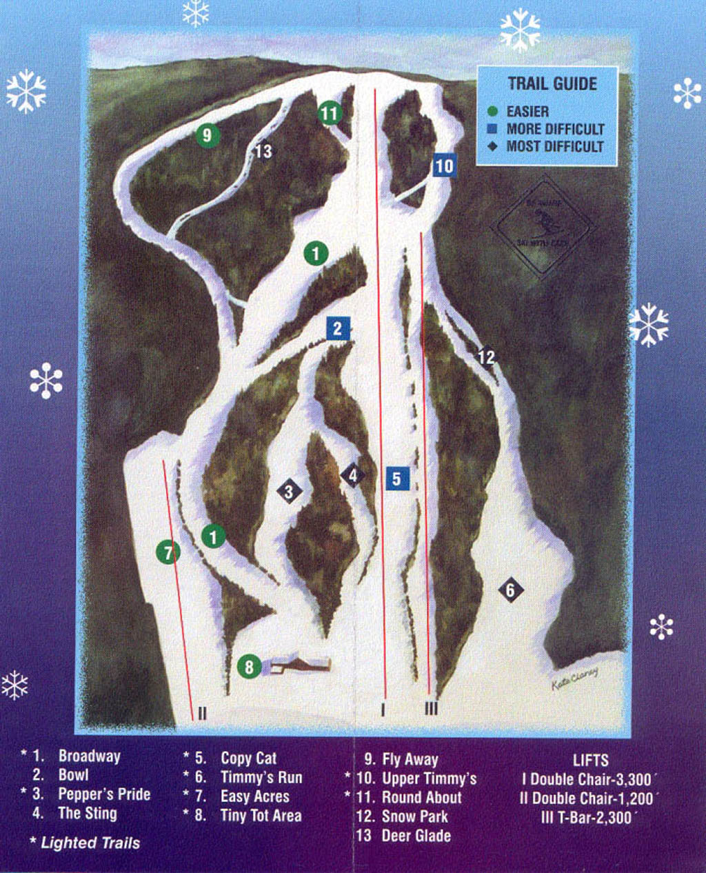 Woods Valley Ski Area Piste / Trail Map