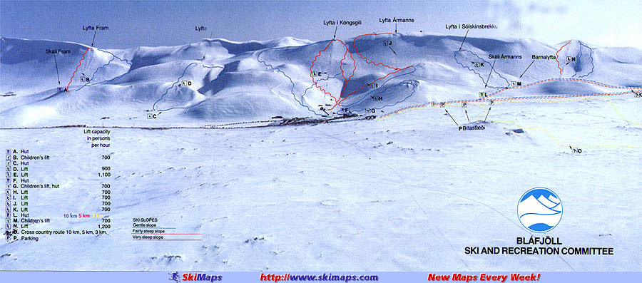 Bláfjöll Piste / Trail Map