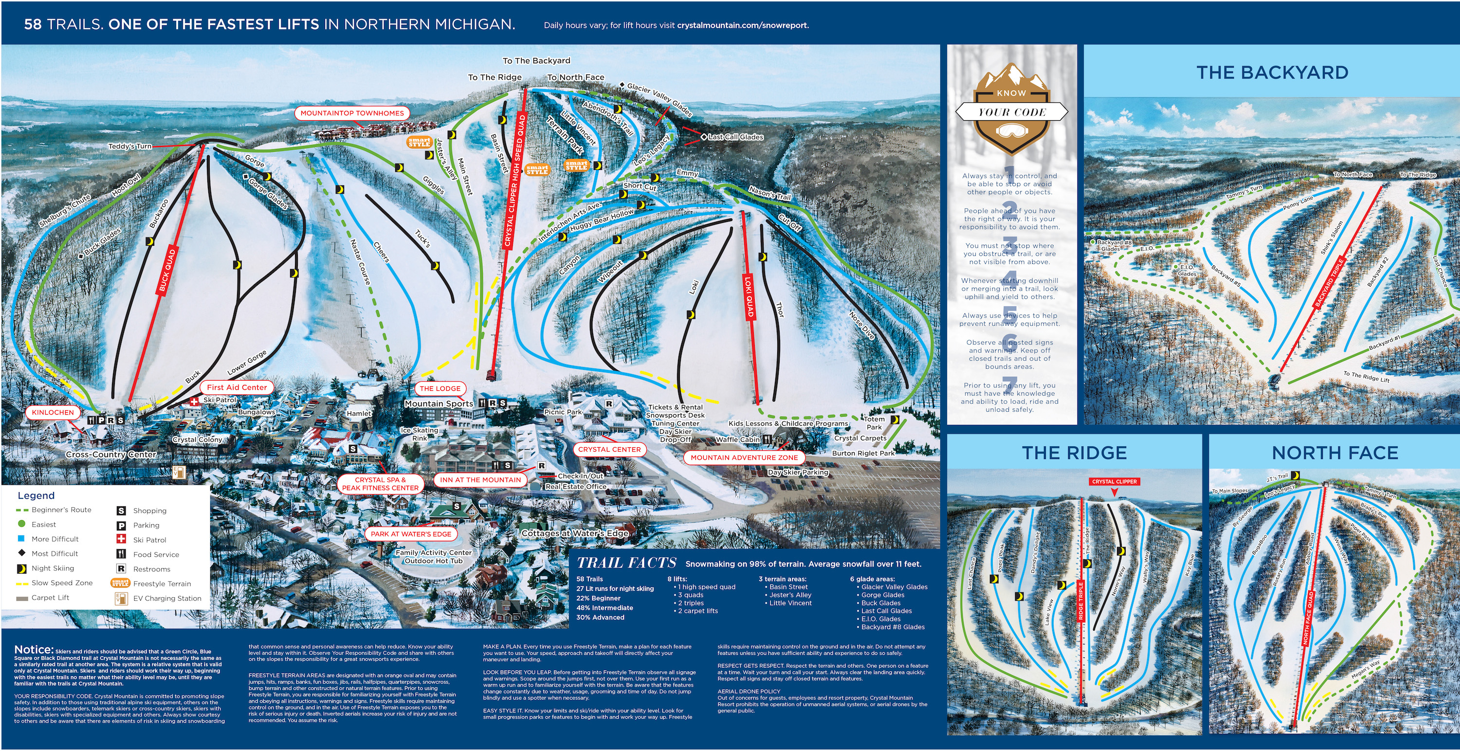 Crystal Mountain Michigan Piste / Trail Map
