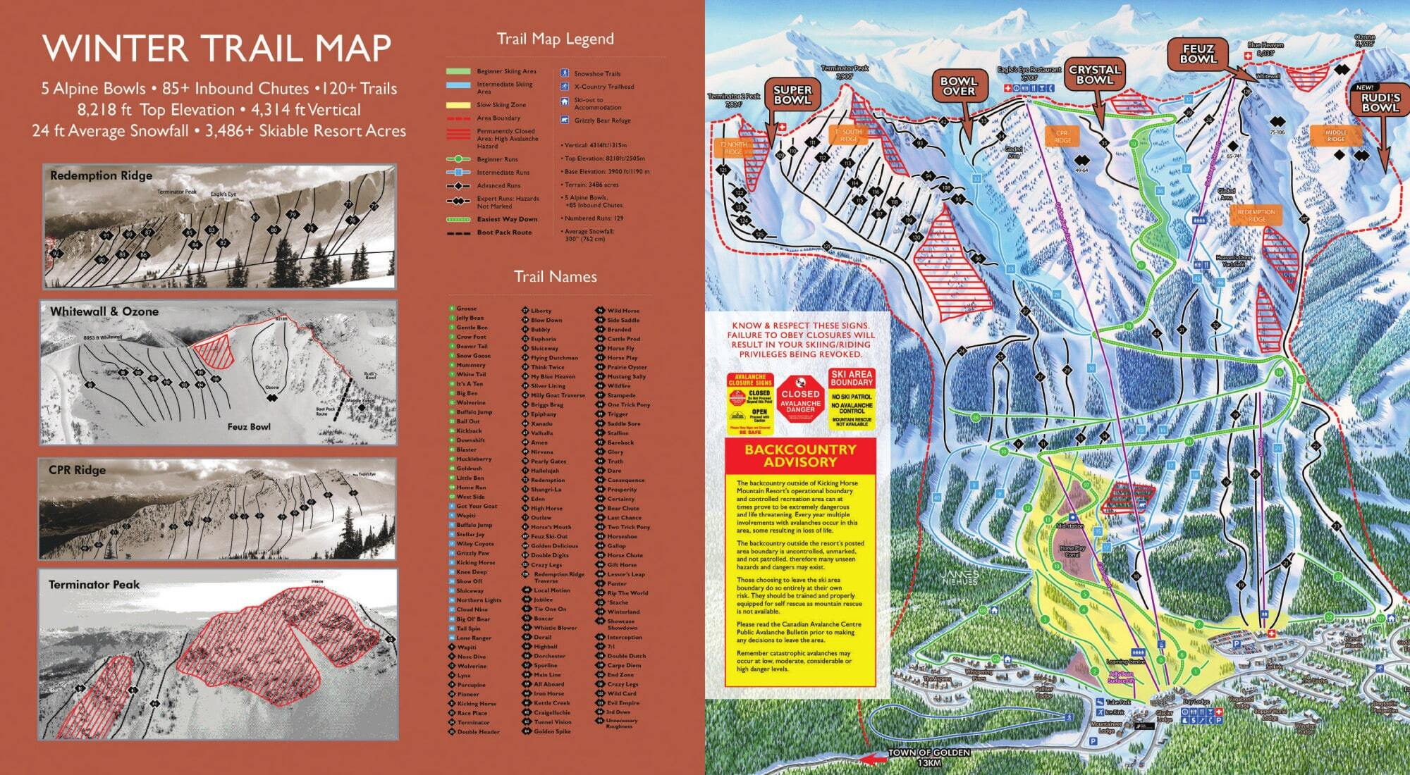 Kicking Horse Piste / Trail Map