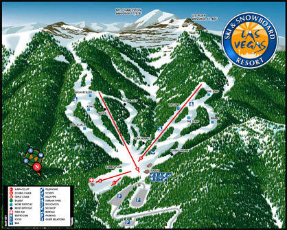 Las Vegas Ski and Snowboard Resort Piste / Trail Map