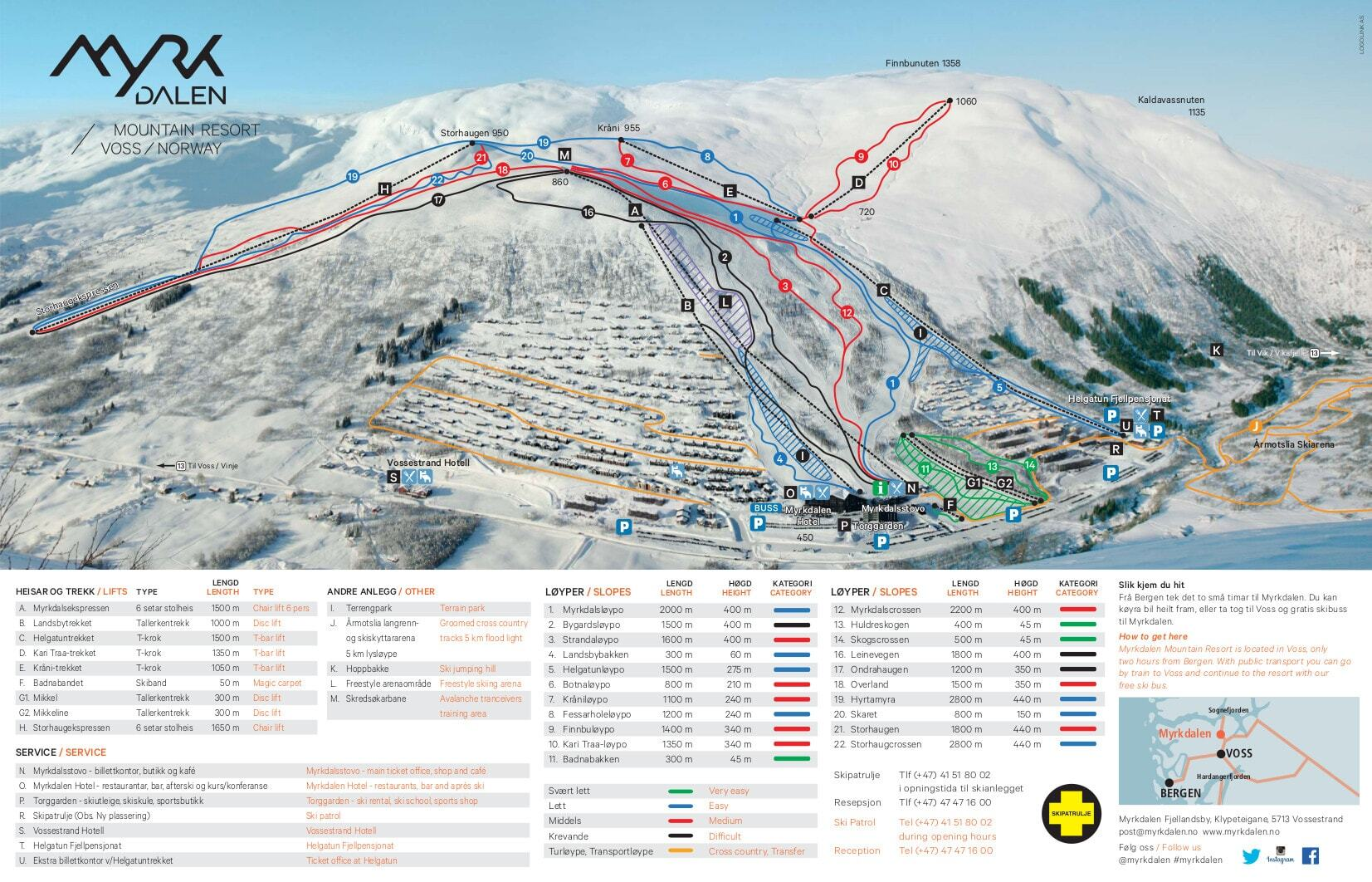 Myrkdalen Piste / Trail Map