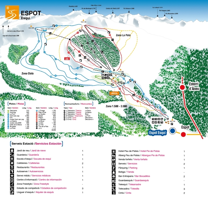 Espot Esquí Piste / Trail Map