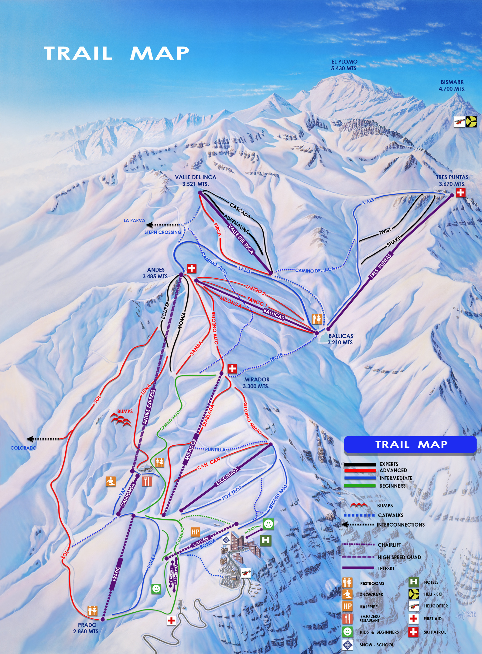 Valle Nevado Piste / Trail Map