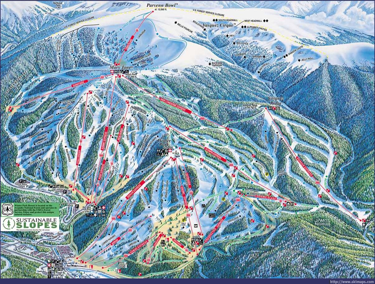 Winter Park Piste / Trail Map